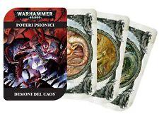 Carte dei Poteri Psionici dei Demoni del Caos WARHAMMER 40000 40K Citadel