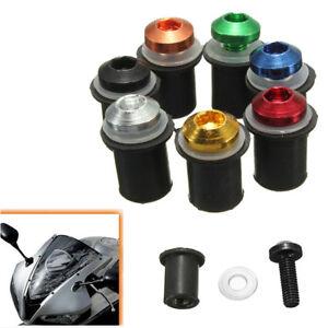 10x-CNC-Motorcycle-Windscreen-Windshield-Fairing-Well-Nut-Bolts-Screw-M5-x-16mm