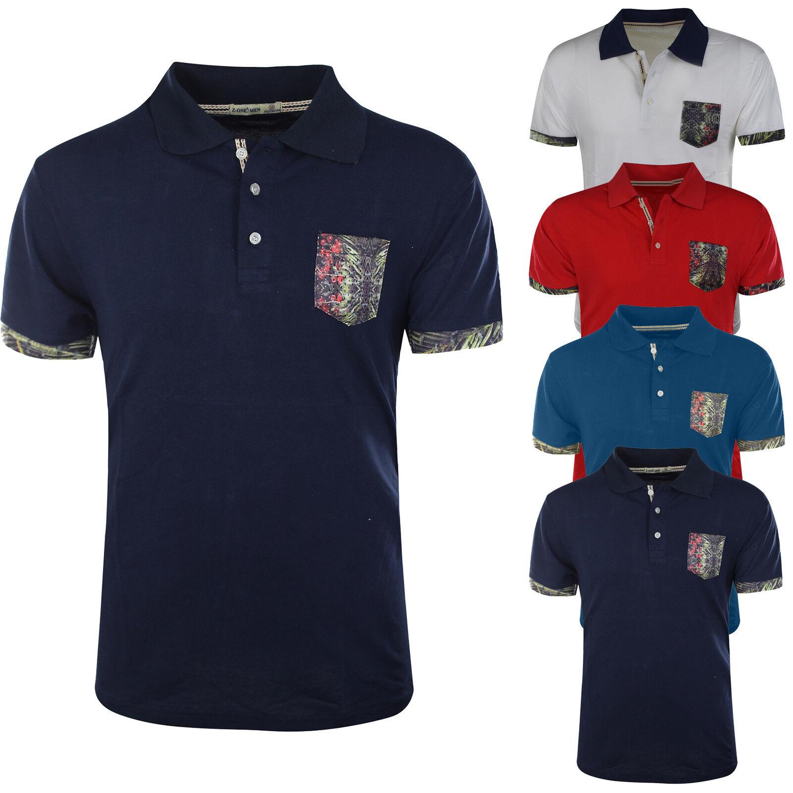 3b4a657f52a Polo Hombre Bolsillo Algodón Mitad Manga Corta Camiseta Slim Fit ...