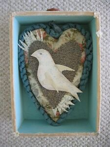 One of Kind Shadow Box Art from Stacey Bear - Paper Bird Silver Glitter Heart