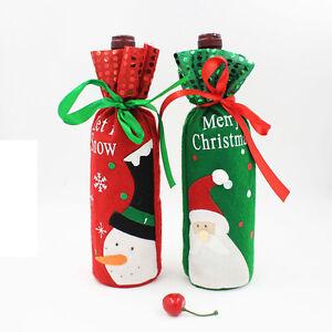 Sequins-Snowman-Santa-Claus-Christmas-Decoration-Red-Wine-Bottle-Cover-Bags