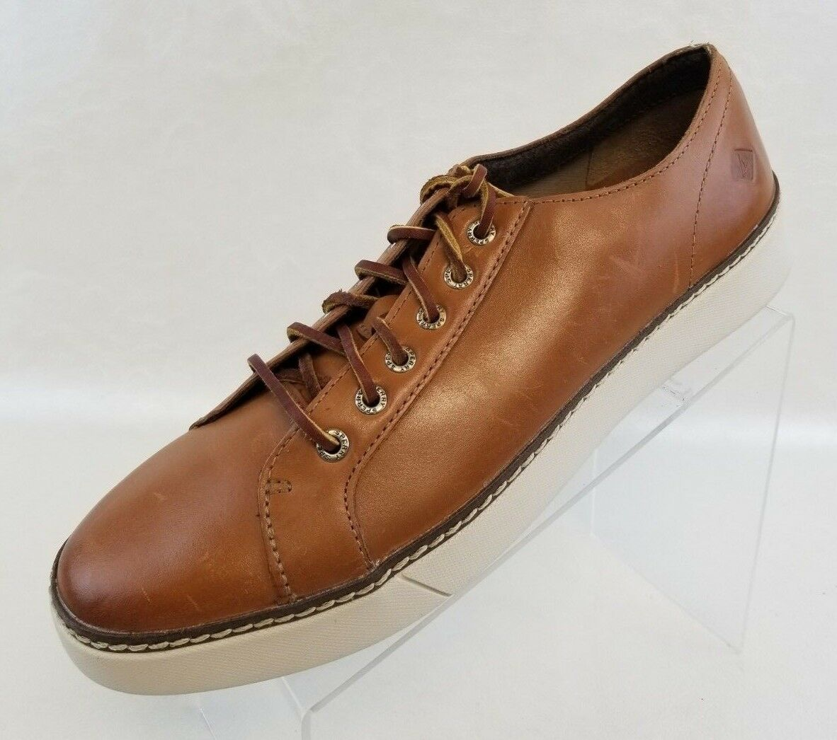 Sperry Top Sider Clipper LTT Mens Tan Leather Sneakers Lace Up shoes NWOB