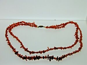 Vintage-Two-Strand-Stick-Coral-amp-Bead-Necklace-Barrel-Clasp-Graduated-16-1-2-034