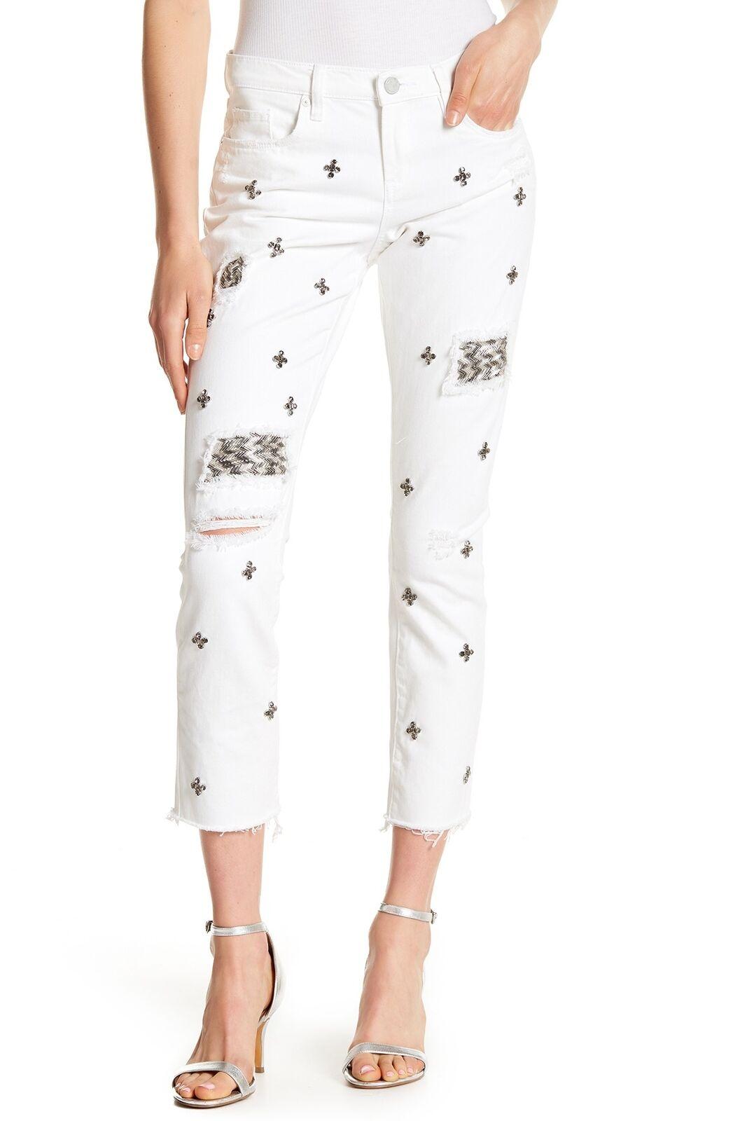 BLANKNYC 153012 Women's Denim Embellished Straight Leg Crop Jeans Sz. 25