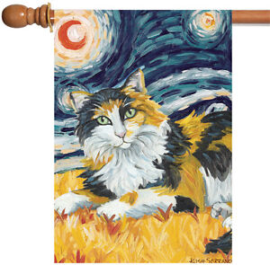 bc805e6ff8 Toland Van Meow Calico Kitty 28 x 40 Starry Night Cat Portrait House ...
