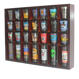 28-Shot-Glass-Display-Case-Rack-Wall-Shelves-Shadow-Box-Holder-Cabinet-SC11-MA