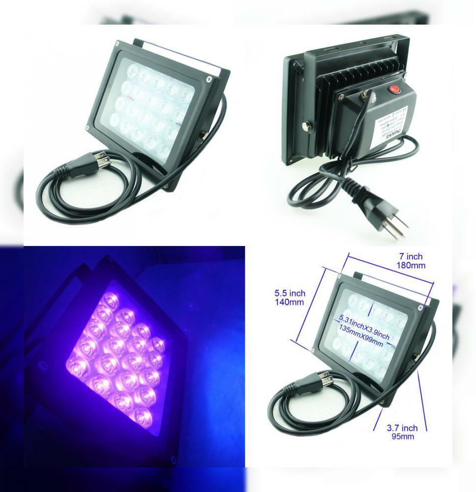 QUANS 110V 20W UV Ultra purple High Power LED Light for Curing Glue...