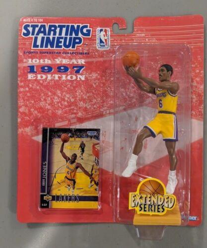 NEW Starting Lineup Eddie Jones 1997 Figure Toy NIB NBA Extended SLU Lakers Card