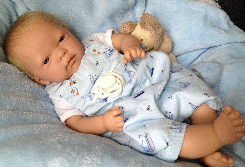 """ BEN "" 18 INCH OPEN EYED REBORN BABY BOY MAGNETIC DUMMY"