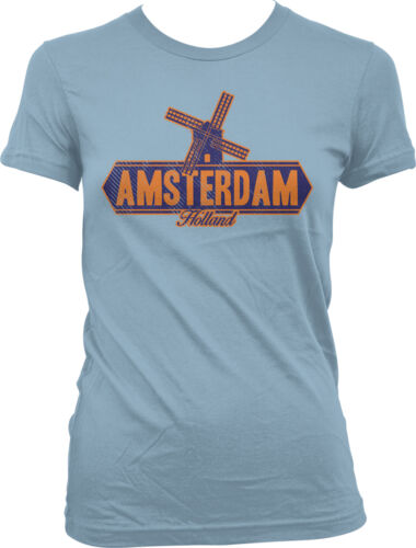 Amsterdam Holland Windmill Netherlands Dutch Nederland City NLD Juniors T-Shirt