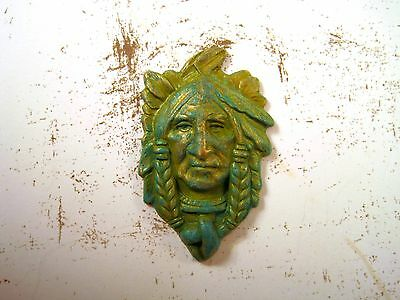 Verdigris Patina Brass Indian Chief Stamping (1) - VPFFA1974