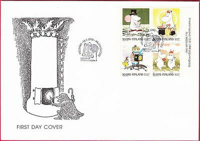 Moomin Troll Stamp Booklet Sheet Finland FDC 1998