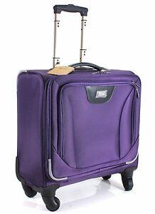 "17"" pouces roues cabine Spinner Ordinateur Portable Trolley Cabine Business Case Sac Violet  </span>"
