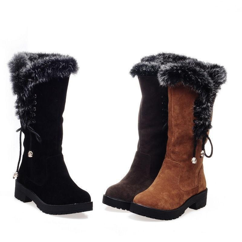 Winter Womens Furrry Trim Lace Up Mid Calf Ankle Snow Boot Chunky Heels Sz New