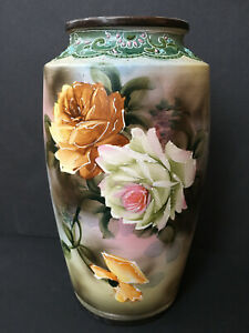 LARGE-ANTIQUE-HAND-PAINTED-NIPPON-VASE-ROSES-10-034-TALL-BEADING