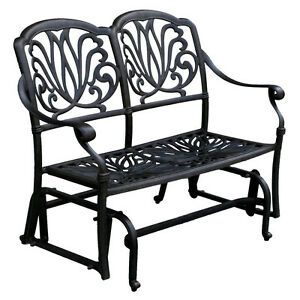 Outdoor-Glider-Elisabeth-Patio-Cast-Aluminum-Bench-Furniture-Desert-Bronze