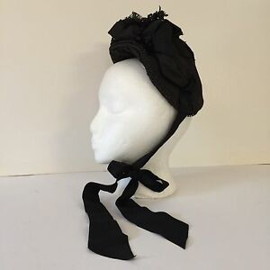 Image is loading Antique-Victorian-Ladies-Black-Hat-Chin-Ribbons-Tagged- 7ef1a4ef7a9