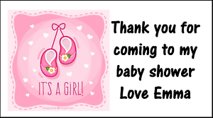 Personalised 48 Baby Shower Stickers Labels Party Bag Sweet Cones Thank You