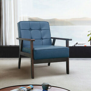 Single Sofa Guest Lounge Chair Modern Living Room Armchair Upholstered Retro PU