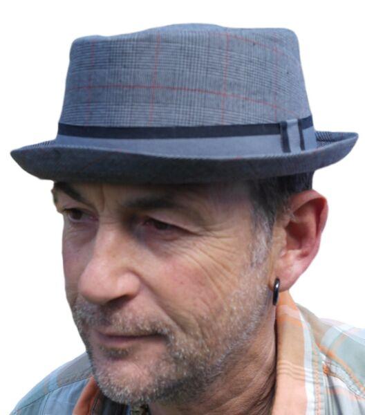 5322e40310a551 Rude Boy / Ska Pork pie Hat - Grey Size 59cm
