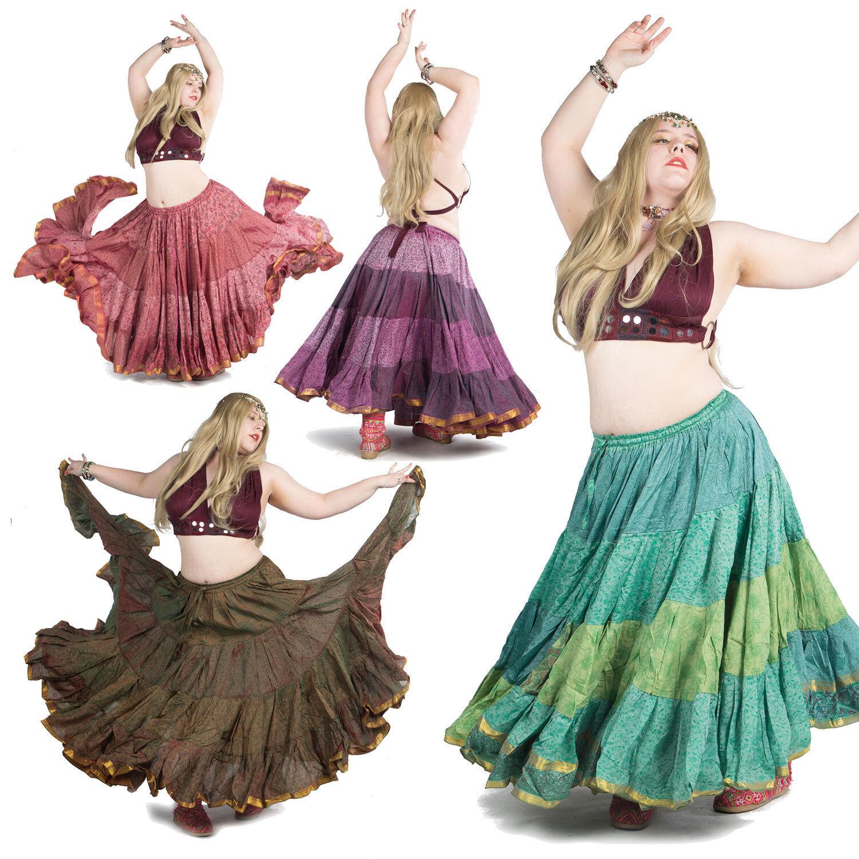 Grande Taille Gypsy Danse orientale Jupe,XL Tribal Fusion Vêtements,Hippie