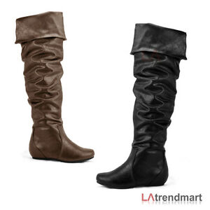c7f836d57a2 Details about Women Fashion Slouchy Over the Knee Boot Faux Leather  Foldable Flat Soda Frib