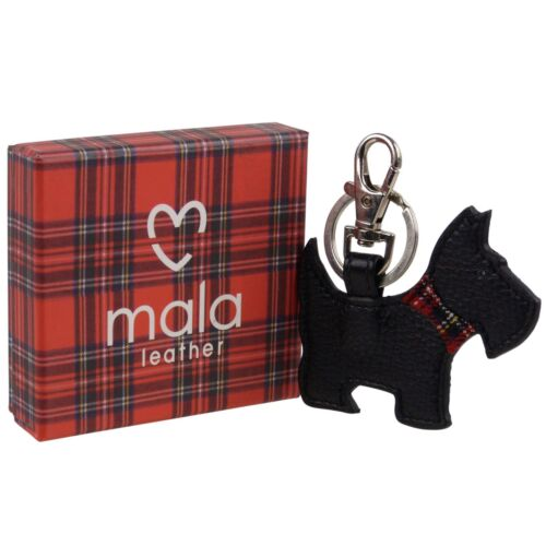 Mala Black Leather Bag Charm Keyring Scottie//Westie Terrier Gift Boxed