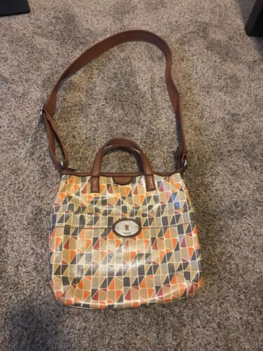 Fossil Key-Per Multi colored Coated Canvas Leather Zip crossbody Bag