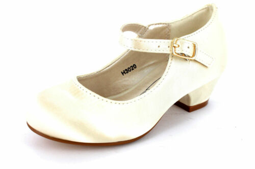 Girls Spot On H3020 White Ivory Satin Or Silver Metallic Bridesmaid//Party Shoes