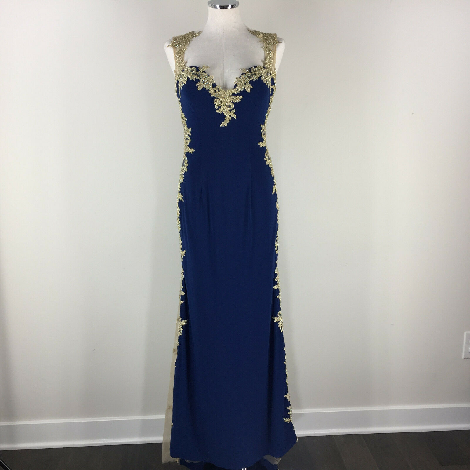 Abby Paris M 6 8 Blue Gold Lace Formal Evening Gown Dress prom Stretch train