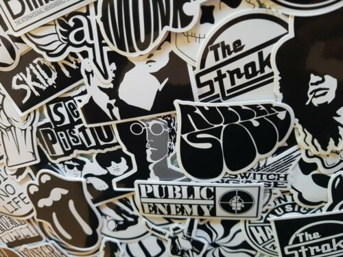Rock Music Stickers Black and White Skate Laptop Band Musician Guitar Instrument