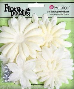 Fabric-PEARL-with-Glitter-Petals-Centres-Large-5-9cm-25-Piece-Petaloo-Pet-I