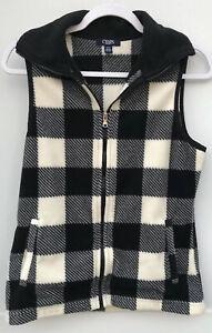 Chaps-Sport-Size-Small-Women-039-s-Fleece-Full-Zip-Black-White-Buffalo-Check-Vest