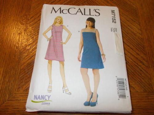 McCalls Pattern M7152 Ms NANCY ZIEMAN Sleeveless Pullover Dresses w//Options