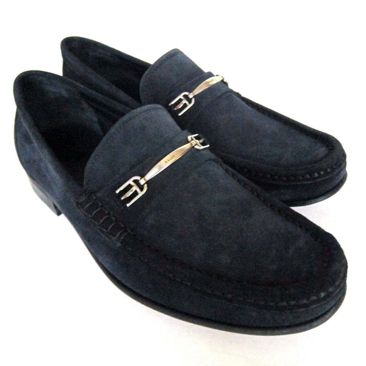 S-1928111 Nuevo Bally Lopin ante Azul Zapatos Mocasines Talla Eu 8D Marcado 7E