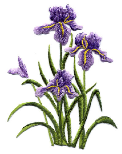 "Iris Spring Embroidered Iron On Applique  6/""H Purple Flowers Gardening"