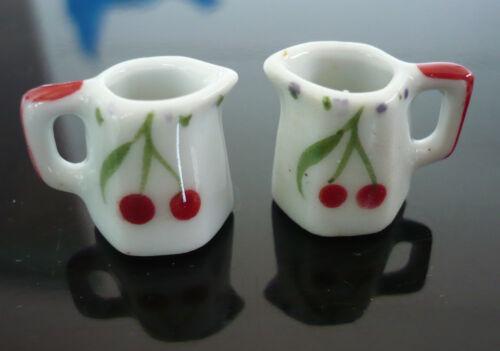 2 Mini Hand Painted Cheery Water Jug Dollhouse Miniatures Ceramic Kitchenware