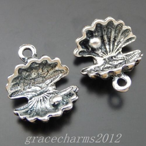38pcs Vintage Silver Pearl Shell Charms Dangles 13x12mm Pendants Jewelry 39855