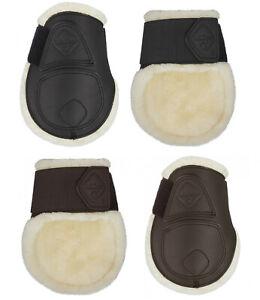 LeMieux CAPELLA Comfort Fleece & Leather FETLOCK ShowJumping Boots Black/Brown