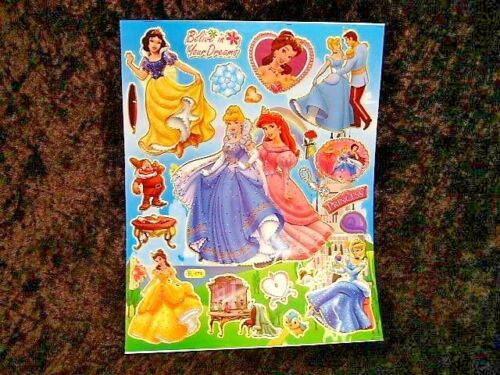 Disney Princesses 5 x A4 Sheets of Shiny Foil Stickers Party Bags Stocking 459