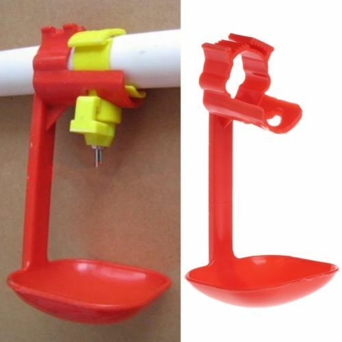 Poultry Chicken Duck Birds Hanging Drinking Nipple Water Drinker Feeder With Cup