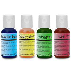 Chefmaster Food Coloring Cake Decorating Paint Set - 4 Colors - .64 ...