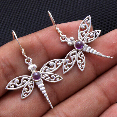 Diamonds & Gemstones Amethyst Gemstone Solid 925 Sterling Silver Jewelry Beautiful Dangle Earrings High Quality Jewelry & Watches