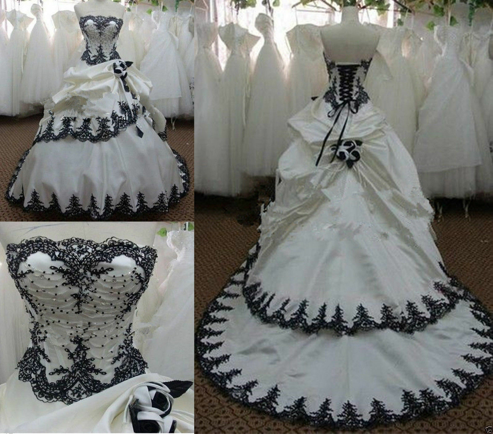 Vintage White and Black Wedding Dresses Gothic Strapless Bridal Ball ...
