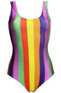 più amato c3cbd 40b21 Dettagli su Donna Arcobaleno Multicolore Righe Verticali a Scollato Costume  Intero Body