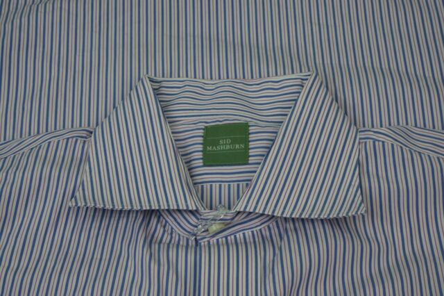 Sid Mashburn White Blue Striped Spread Collar Long Sleeve Dress Shirt Sz 16