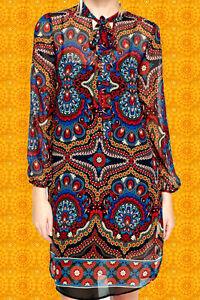 151✪ Indian Hippie Spirit Gipsy Tunika Kleid Boho mit Ethno Muster Festival