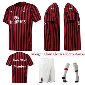 on sale f0b52 7bdaf Details about 19/20 AC Milan Soccer Suits Jerseys Kids Football Kits For  Boys Adults Outfits