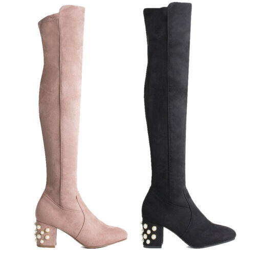 Womens Ladies Pearl Detail Block Heel Over the Knee Boots Thigh High Shoes Size