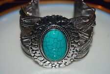 LARGE BOLD RUNWAY SILVER TONE METAL CUFF BRACELET & ACCENT FAUX TURQUOISE STONE